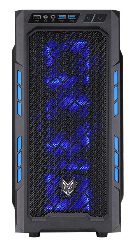FSP/Fortron ATX Midi Tower CMT210 Blue, průhledná bočnice