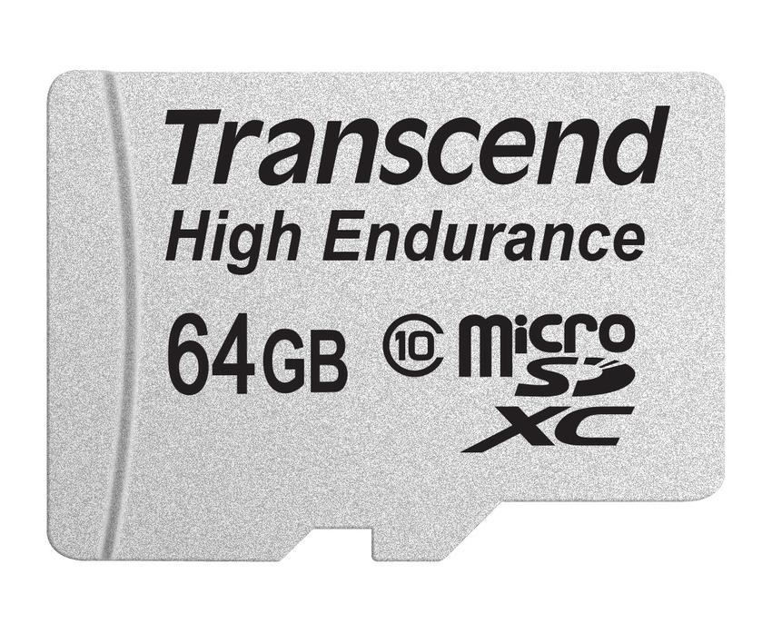 Transcend 64GB microSDXC (Class 10) High Endurance MLC průmyslová paměťová karta (s adaptérem), 21MB/s R, 20MB/s W