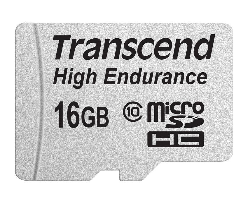Transcend 16GB microSDHC (Class 10) High Endurance MLC průmyslová paměťová karta (s adaptérem), 21MB/s R, 20MB/s W