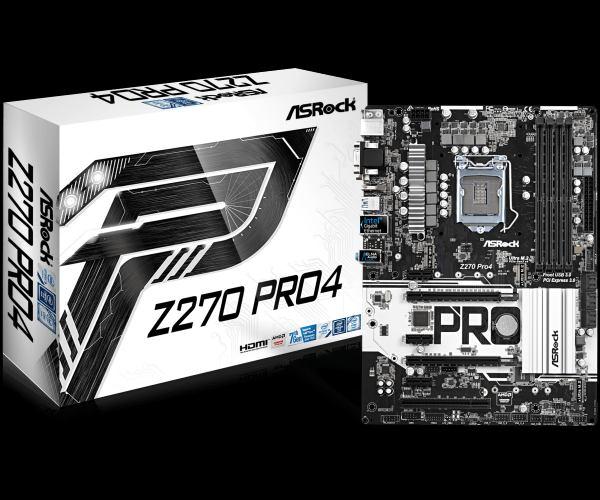 ASROCK MB Z270 PRO4 (intel 1151, 4xDDR4 3733MHz, VGA+DVI +HDMI, USB3.0, 6xSATA3 +RAID + 2xM.2, 7.1, GLAN, ATX)