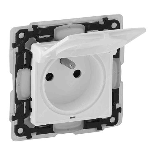 Valena Life zásuvka 1-násobná IP44 s klapkou bílá