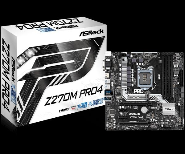 ASRock Z270M Pro4, INTEL Z270 Series, LGA1151,4 DDR4, 2 x M.2 (for SSD)