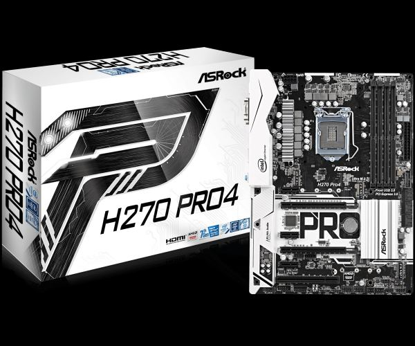 ASRock H270 Pro4, INTEL H270 Series,LGA1151,4 DDR4, 3xM.2 (2 for SSD,1 WiFi)