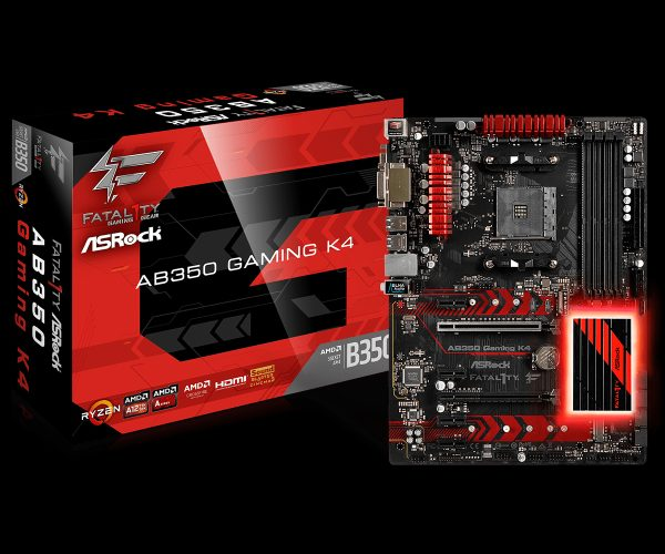 ASRock AB350 Gaming K4, AM4, DDR4 2667, 6 SATA3, 8 USB 3.0, HDMI, DVI-D, D-Sub