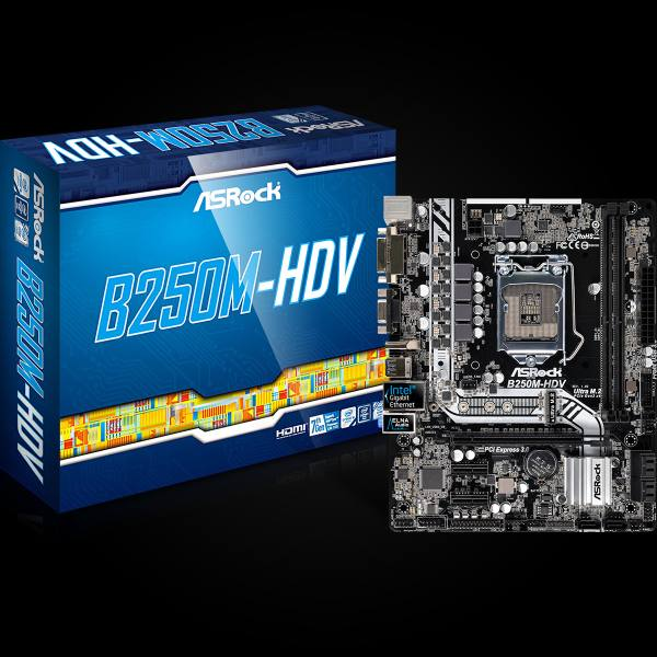 ASRock B250M-HDV, INTEL B250 Series,LGA1151,2 DDR4, 1 x M.2 (for SSD)