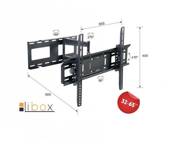 TV wallmount Libox LONDYN LB-400 | 32''-65'', VESA 600x400mm, 45 kg, horizontal