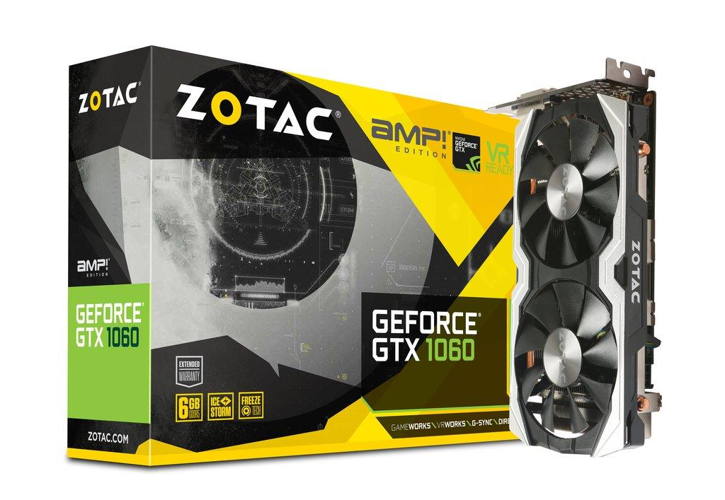 ZOTAC GeForce GTX 1060 AMP+ Edition, 6GB GDDR5, DVI-D, HDMI, DP