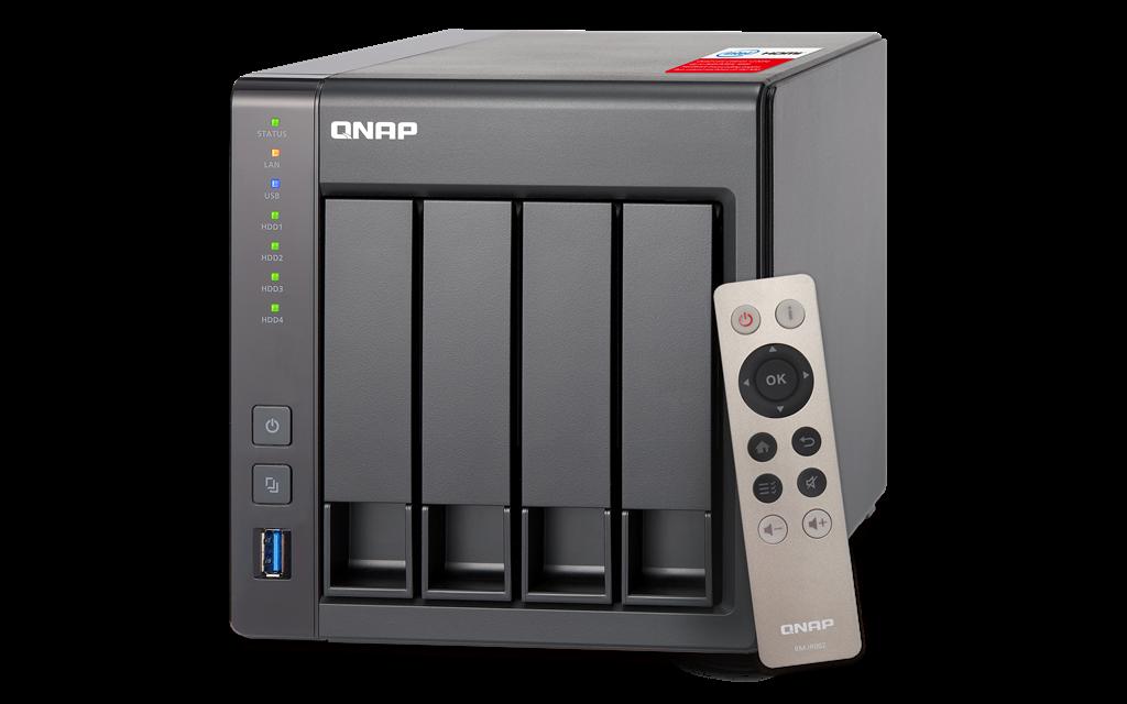 QNAP 4-bay TurboNAS, SATA 6G,2.4GHz Quad Core, 2G RAM, 2xGbE LAN, USB 3.0, HDMI