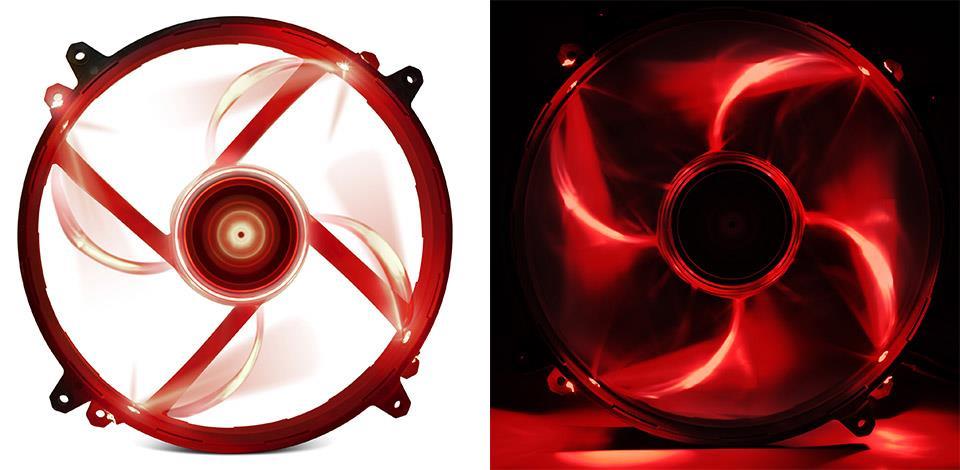 NZXT High Airflow ventilátor 200x200x30mm, červený LED