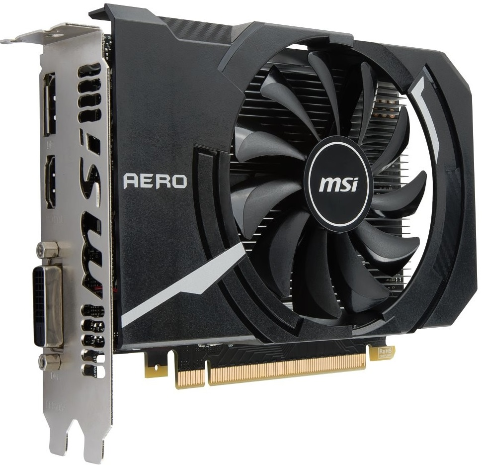 MSI GeForce GTX 1050 Ti AERO ITX 4G OC, 4gb, DisplayPort, HDMI, DL-DVI-D