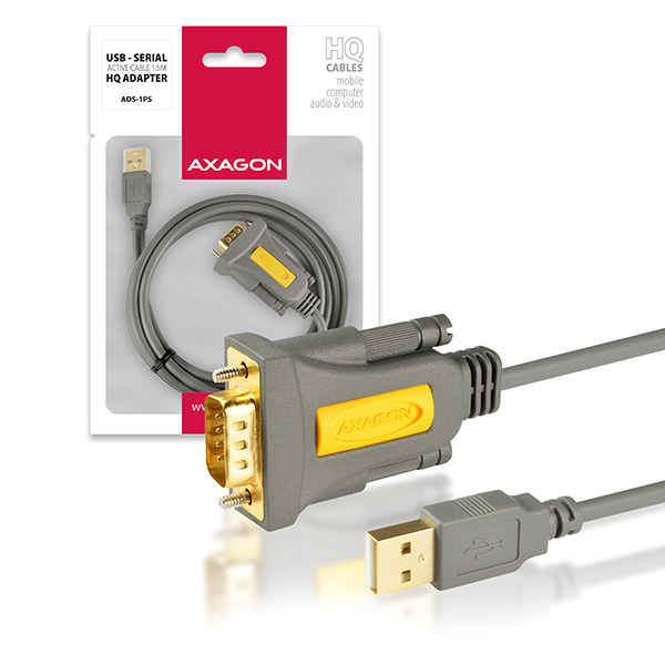 AXAGON USB2.0 - seriový RS-232 screw adapter 1,5m