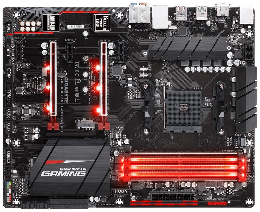 GIGABYTE MB Sc AM4 AX370-Gaming K3, AMD X370, 4xDDR4, VGA