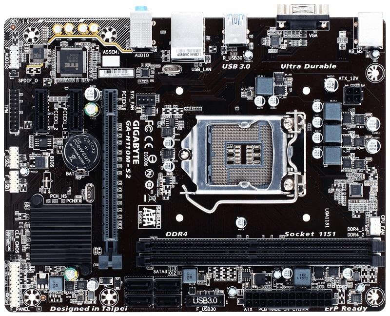 Gigabyte GA-H110M-S2, H110, DualDDR4-2133, SATA3, D-Sub, mATX