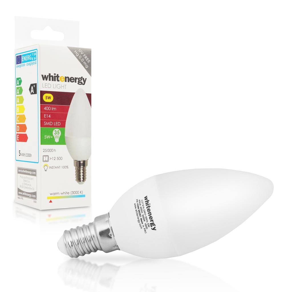 WE LED žárovka SMD2835 C37 E14 5W teplá bílá