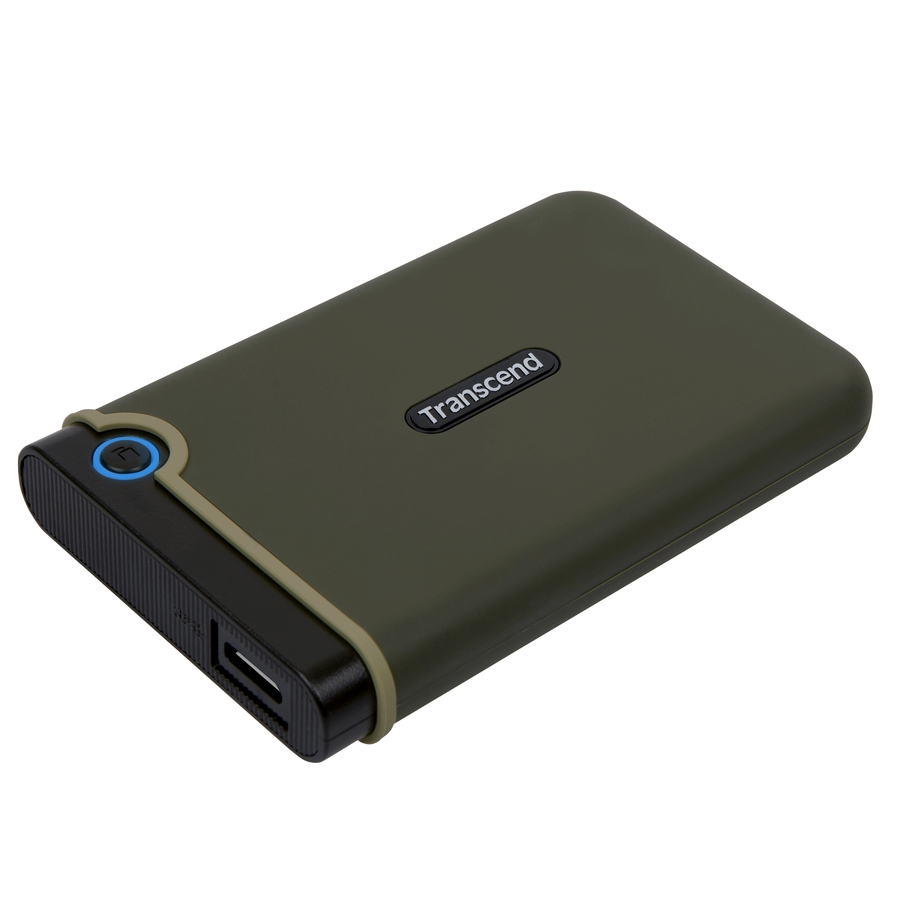 """TRANSCEND 2TB StoreJet 25M3E, USB 3.0, 2.5"""" Externí Anti-Shock disk, tmavě zelený"""