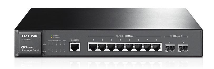 TP-Link TL-SG3210 JetStream™ switch 8x 10/100/1000 Mbs, 2x SFP, managed, rack