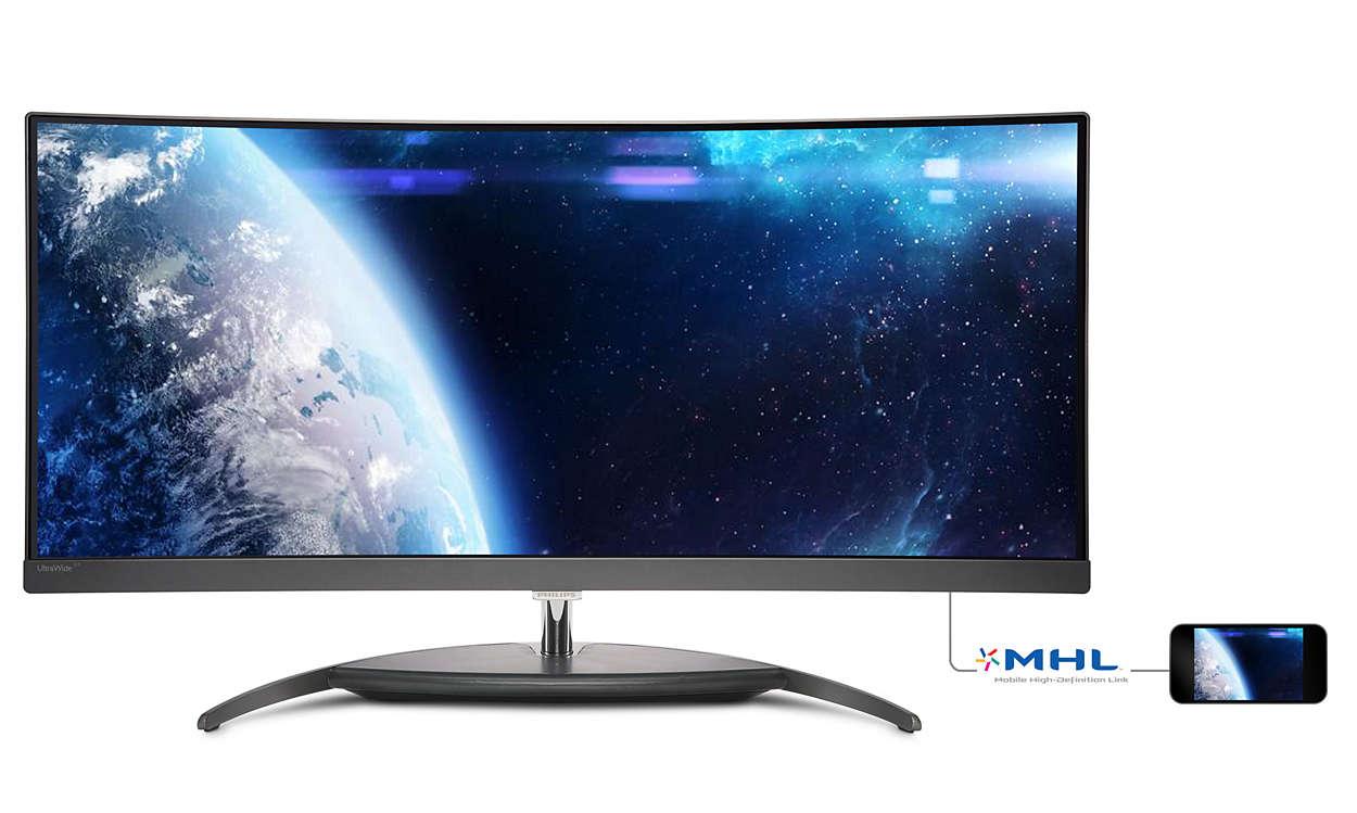 """Philips LCD BDM3490UC 34"""" 21:9 AH-IPS/3440x1440/50M:1/5ms/300cd/DP/HDMI2.0/HDMI+MHL/HDMI/4xUSB3.0+fast charger/Repro"""