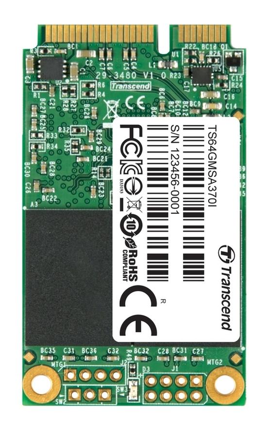 TRANSCEND MSA370 64GB Industrial SSD disk mSATA, SATA III (MLC)