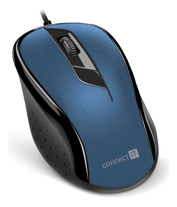 CONNECT IT Optická myš, ergonomická, USB, modrá