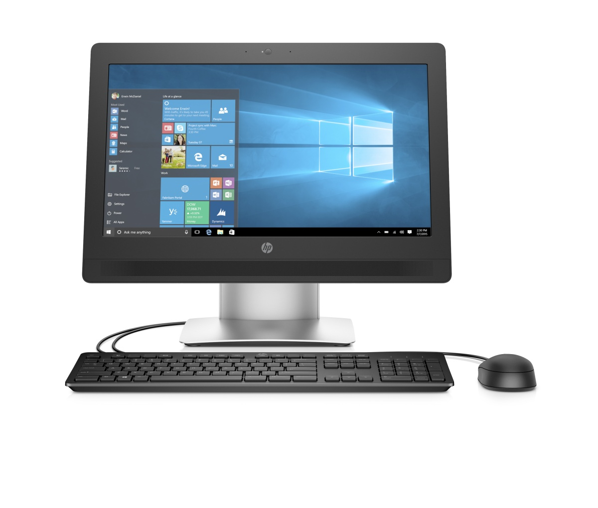 HP ProOne 400G2 AiO 20NT i3-6100T,1x4GB,128GB SSD,Intel HD,WiFi ac,BT, usb slim kl. a myš, SD MCR,DVDRW,Win10Pro64