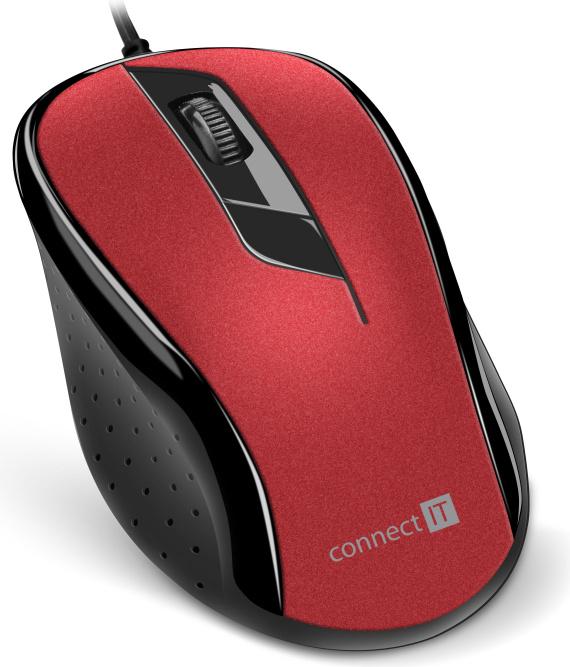 CONNECT IT Optická myš, ergonomická, USB, červená