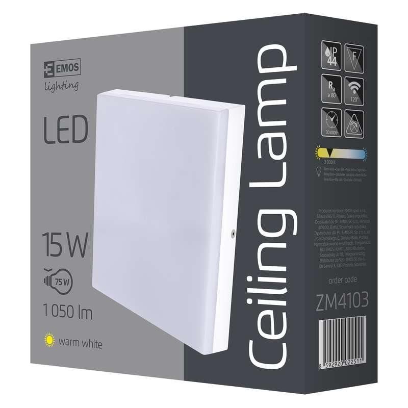 Emos přisazené LED svítidlo, čtverec 15W/75W, WW teplá bílá, IP44