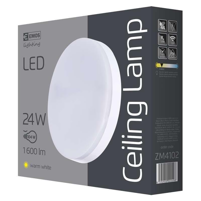 Emos přisazené LED svítidlo, kruh 24W/100W, WW teplá bílá, IP44