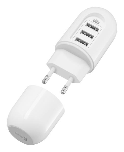 CONNECT IT Power Nomad cestovní nabíjecí adaptér 3xUSB (3,4 A Smart IC), bílý