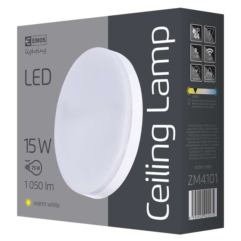 Emos přisazené LED svítidlo, kruh 15W/75W, WW teplá bílá, IP44