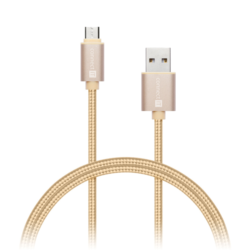 CONNECT IT Wirez Premium Metallic micro USB - USB, gold, 1m