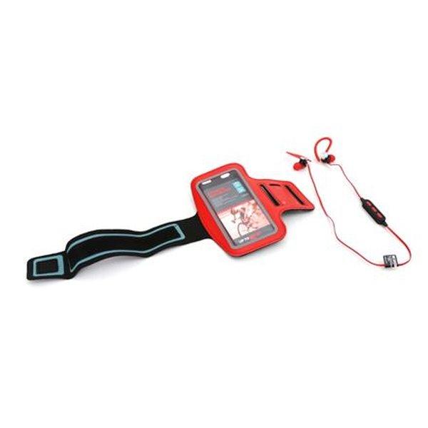 PLATINET sportovní bluetooth sluchátka PM1075 + popruh na paži červený