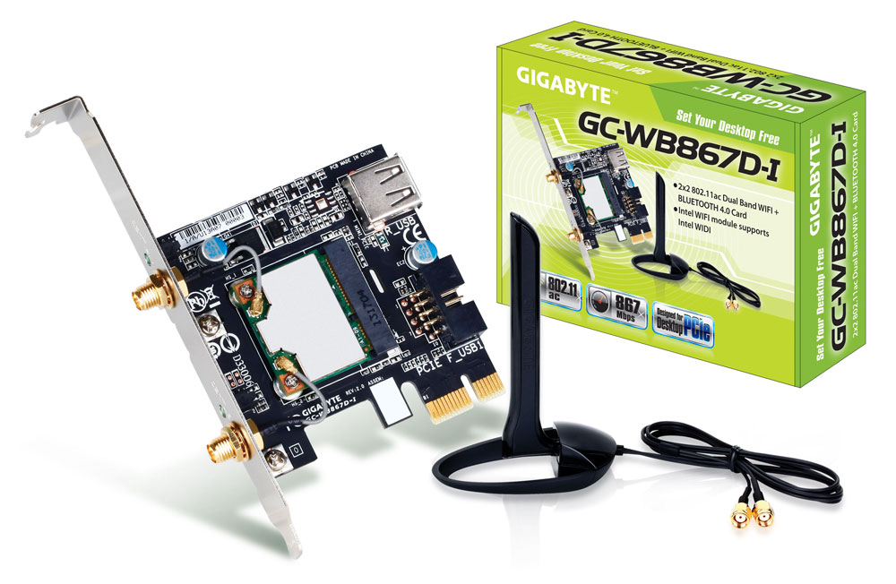 GIGABYTE PCI-E Wifi+bt 867Mbps 802.11 a/b/g/n/ac