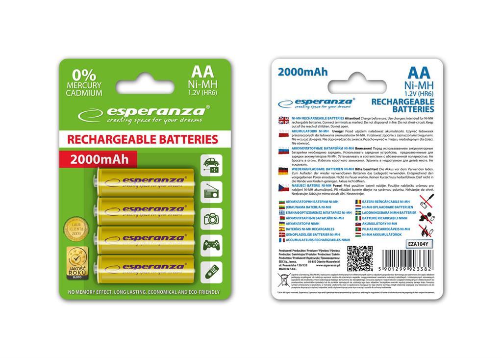 Esperanza EZA104Y Nabíjecí baterie Ni-MH R6/AA 2000mAh, 4 ks, blister