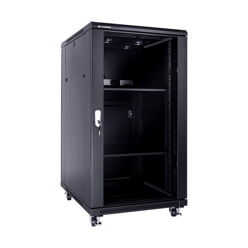 Linkbasic stojící skříně 19'' 22U 600x800mm - černá (prosklené dveře)