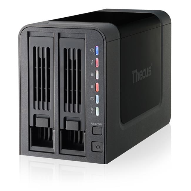 Thecus 2-Bay tower NAS, SATA, 800MHz, 512MB DDR3, 1x GbE, USB 3.0