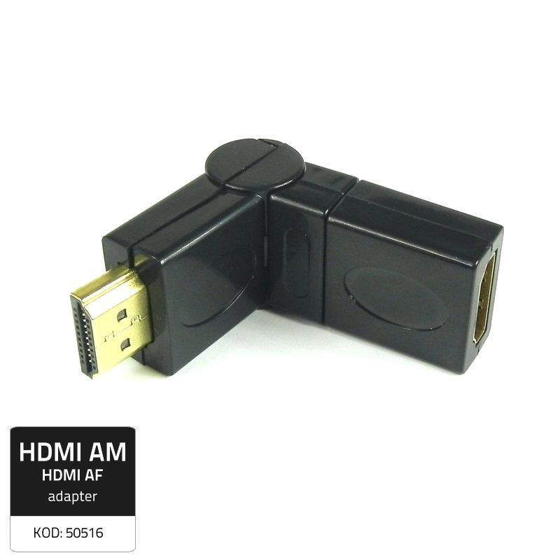 Qoltec Adaptér HDMI (M)/HDMI (F), úhlový/otočný