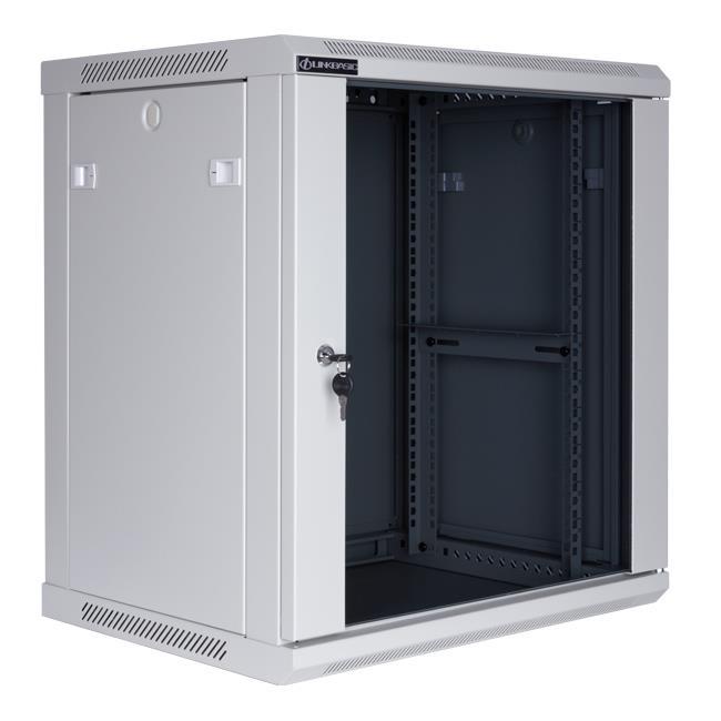 Linkbasic závěsná skříně 19'' 12U 600x450mm - šedá (prosklené dveře)