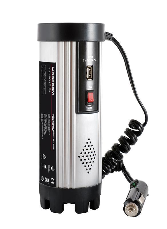 Napájecí autoadaptér (invertor) MC R015 z CL 24V na 230V 50Hz,150W,USB (stříbrný