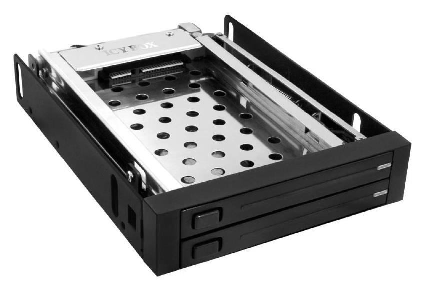 Icy Box Mobile Rack for 2x 2,5'' SATA HDD or 3,5'' SSD, Black