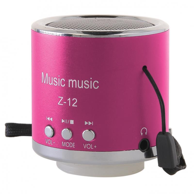 GT Z-12 přenosný mini reproduktor, FM rádio, RMS 3W, SD, USB, růžový