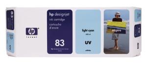 HP 83 Light Cyan UV DJ Ink Cart, 680 ml, C4944A