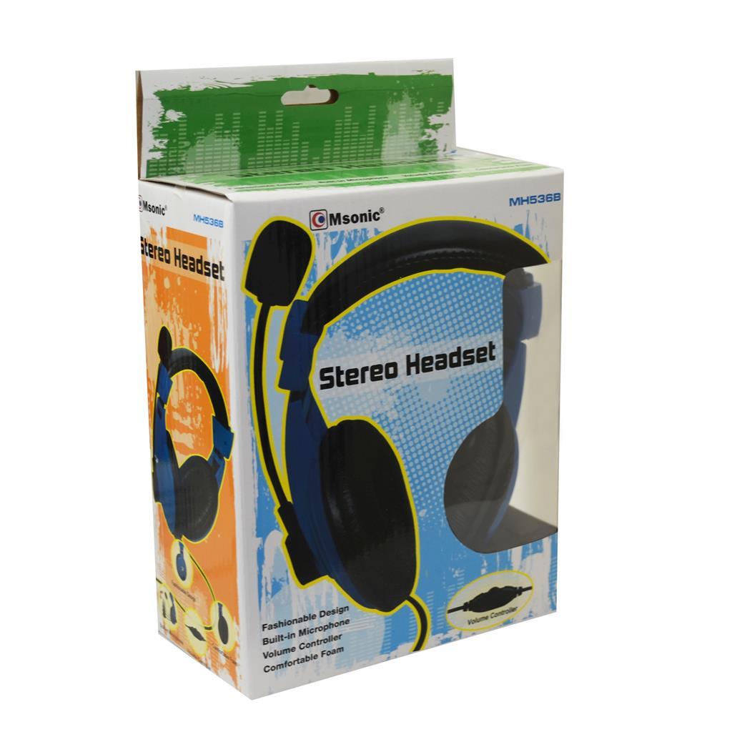 MSONIC Sluchátka s mikrofonem, na uši, ovládání hlasitosti, modrá