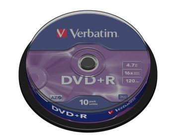 Verbatim DVD+R [ cakebox 10 | 4.7GB | 16x | matte silver ]