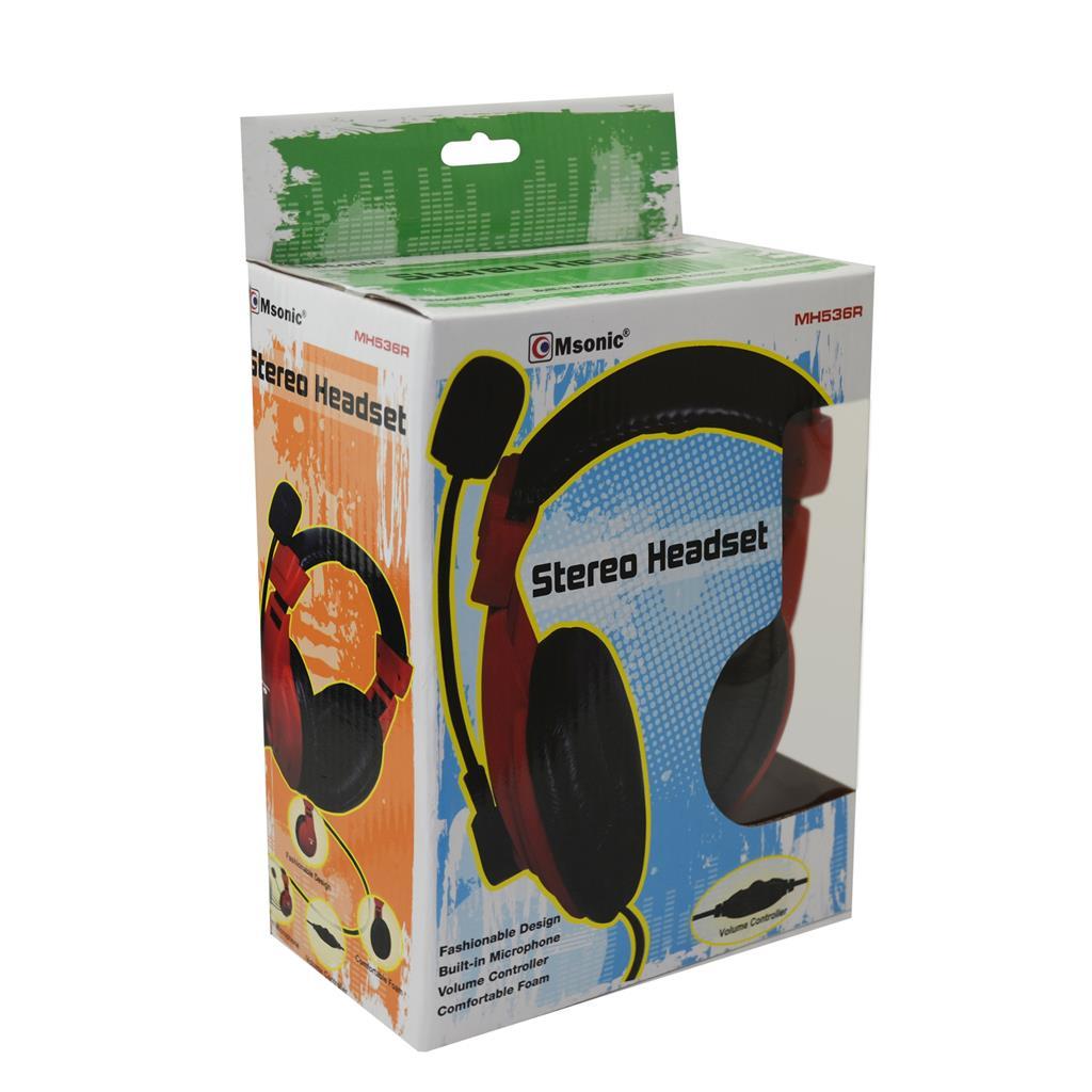 MSONIC Sluchátka s mikrofonem, na uši, ovládání hlasitosti, červená