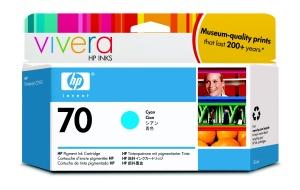 HP 70 Cyan DJ Ink Cart, 130 ml, C9452A