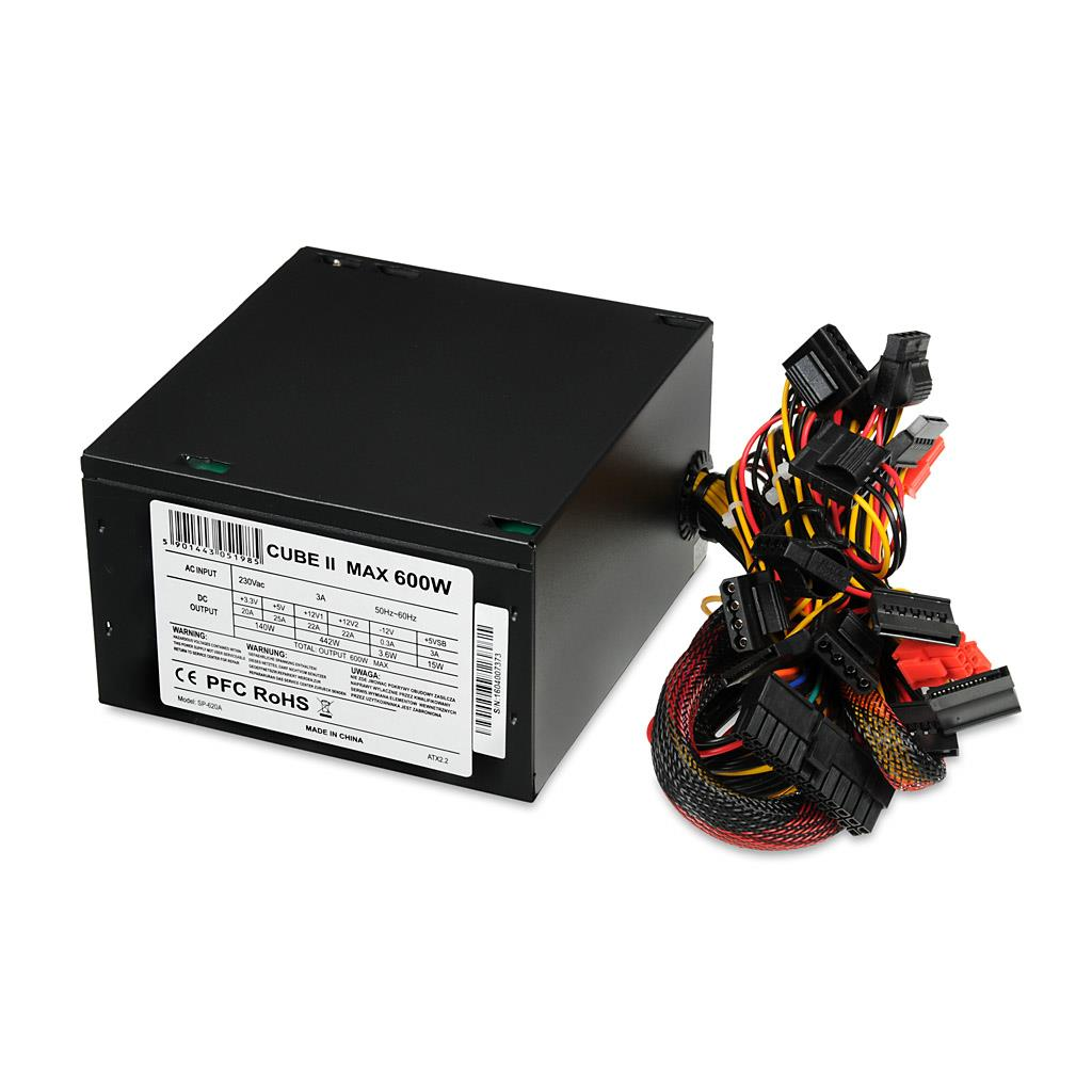 PC zdroj I-BOX CUBE II ATX 600W APFC 12 CM FAN BLACK EDITION