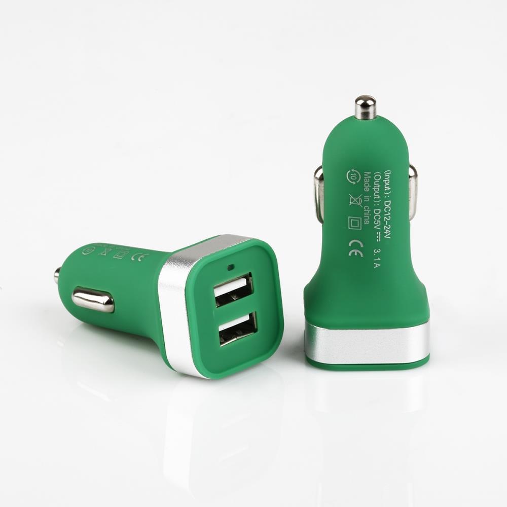 GT PRO mini nabíječka do auta 3.1A 2x USB, zelená