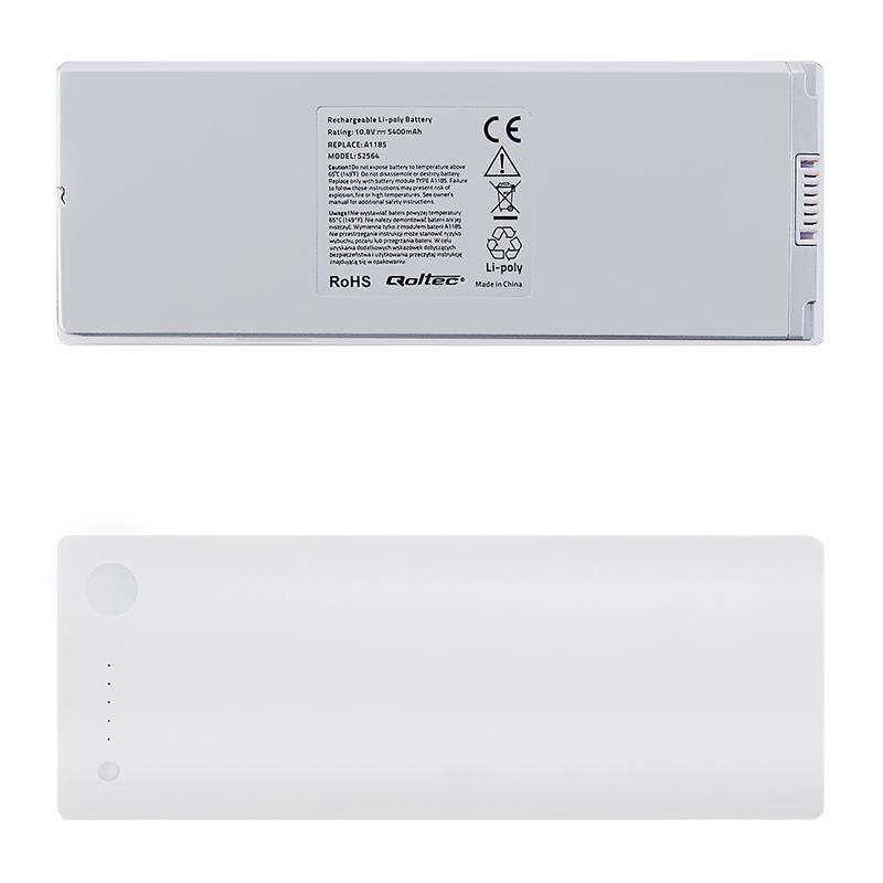 Qoltec Long Life baterie pro notebooky MacBookPro 13 A1185 | 5400mAh | 10.8V
