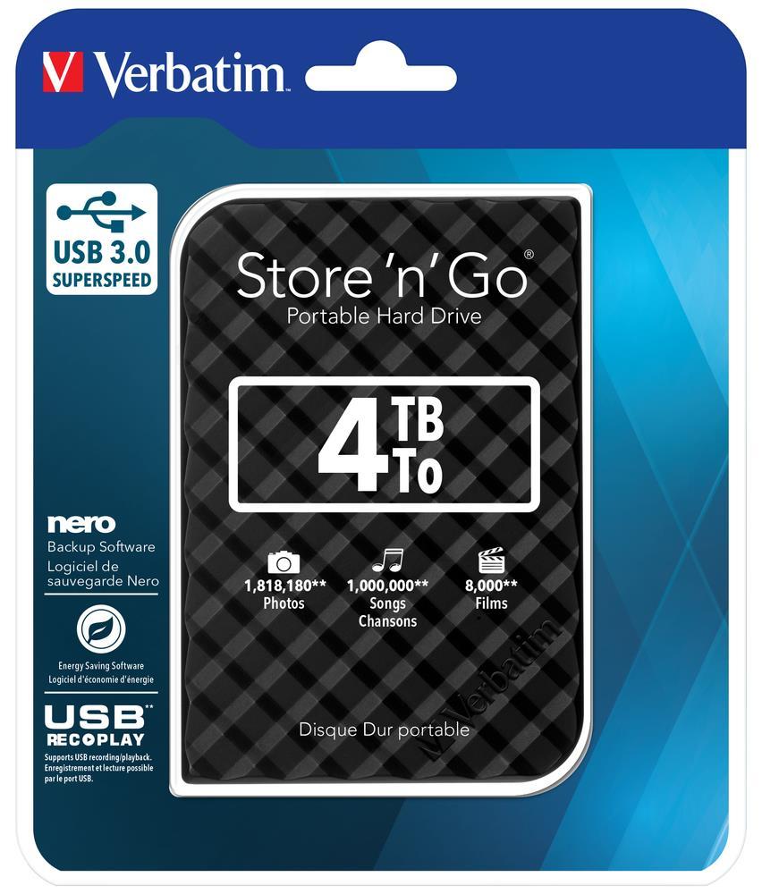 """Verbatim Store 'n' Go GEN 2, 4TB, externí HDD 2.5"""" USB 3.0, černý"""
