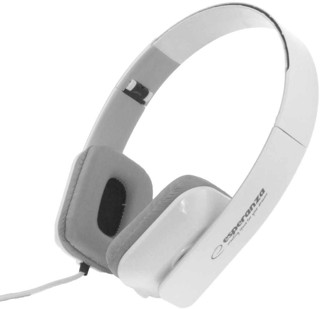 Esperanza EH143W ARUBA Stereo sluchátka, skládací, ovl. hlasitosti, 3m, bílá